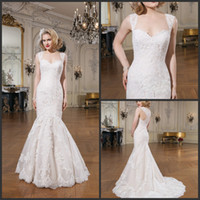 alexander gray - 2015 Justin Alexander Mermaid Wedding Dresses Sweetheart Floor Length Ivory Lace Hollow Back Capped Sleeveless Applique Button Wedding Gowns