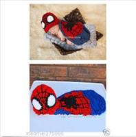 Wholesale 2014 new Hot Spider man Clothe Baby Girls Boy Newborn Knit Crochet Photo Prop Outfits frozenc429