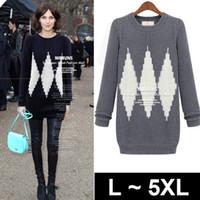Wholesale fashion japanese punk style geometry plus size dress sweater women brand Sweater clothing woman big size plus xl xl xl xl grey