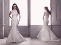 Reference Images blance - Paloma Blance French Alençon Lace and Silk Dupioni Wedding Dresses Scoop Neck Bridal Wedding Gowns Brush Train Mermaid Sleeveless