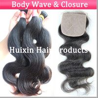 Brazilian Hair Body wave and silk base closure Huixin hair company Virgin Hair Closure 100% Brazilian Virgin hair 3 bundles hair and 1 silk base closure