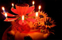 Wholesale Music Candle Light Birthday Lotus Sparkling Flower Candles Light Wedding Birthday Party Flower Music Candle Event Festive Supplies
