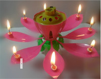 Wholesale New Lotus Music Candles LED Lotus Candle Light Birthday Gift to Kids Lotus Petal Wedding Birthday Party Flower Music Candle Lotus Style