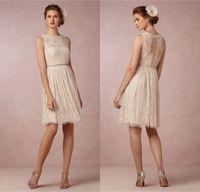 Reference Images best junior dresses - Best Selling Bridesmaid Dresses Vintage Sheer High Neck Light Champagne Lace Junior Plus Size Cheap Short Bridesmaid Dresses DL1313294