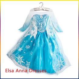 Wholesale Girls Dresses Frozen long sleeves Fall dress girl party dress anna princess costume baby girls elsa dress frozen dress DHL