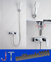 Wholesale European Style Bathroom Wall Mounted Brass Shower Faucet Set with Boost Water saving Shower Head Hand Shower HSA0636