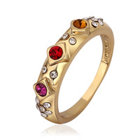 Wholesale New Arrival Red Rhinestone Crystal Rings K gold Plating for Wedding setting jewelry gift diamond engagement rings fashion wedding bands