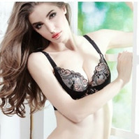 Women Bra & Brief Sets Lace Deep V-neck Lace Massage Oil Water Bag Sexy Women's Bra Set,Three-Hook-and-eye Push Up Lingerie Set