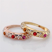 Wholesale 2014 Hot Selling Party Fashion jewelry Ring Women K Gold Plated Ring With A Red Stone Ruby Ring For Ladies Diamond Rings