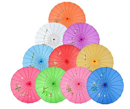 Wholesale Traditional Chinese Umbrella Bamboo Frame Parasol hand painted designs Wooden Handle Bride Umbrella Colors Available YHFCS02