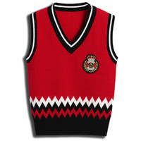 Knitted Sweater Vest For Boy Western Style Children Kids Spring Autumn Zigzag Rhombus Red Gray Stripe Color 3-12 Years Size 4pcs lot