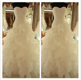 Wholesale 2014 Winter Ruffled Organza Wedding Dresses Sweetheart Zipper Back Pleated Sleeveless Mermaid Court Train Formal Bridal Gown