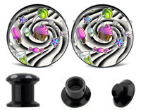 Cheap Wholesale-Wholesale -ice cream logo acrylic whorl ear plugs and tunnels body jewelry piercing 10 sizes 6-25mm