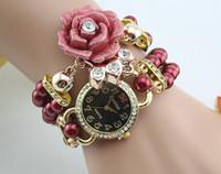 Women's flower bracelet - Brand New Trend Fashion Women s Rhinestone Quartz Watches Hand Made Pearl Wristwatch Crystal Flower Charm Magnetic clasp Watch Bracelet