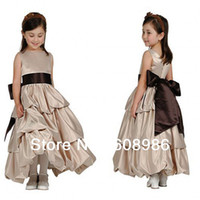Other Reference Images Chiffon 2013-2014 New Arrival Lovely Bow Ruffles Flower Girl Dress In China HT1