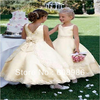 Other Reference Images V-Neck 2013-2014 New Arrival Lovely Bow Yellow Color Beaded Flower Girl Dress In China HT3