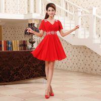 Wholesale 2014 new bride dress bridesmaid dress skirt sister skirt summer dress red dress toast clothing