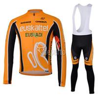 Wholesale Euskaltel Bike Clothing High Wicking Moisture Long Sleeve Cycling Jersey Shirt and Bib Pants Orbea Orange Bicycle Clothes