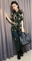 Puff Sleeve Long Bamboo Fiber NEW 2014 fashion women girl casual clothing shirts tshirts tops tee women chiffon military camouflage slim joker girl t shirts