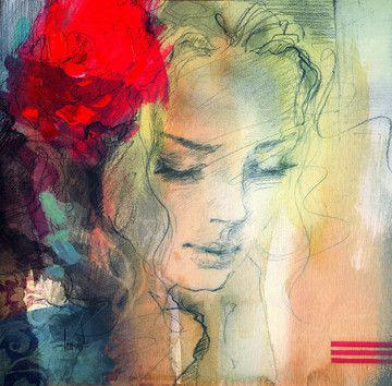 Modern paintings of beautiful women for Beautiful canvas painting