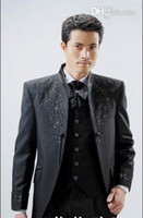 Polyester Reference Images Same as Image Three Pieces Black Wedding Suits New Custom tails (Color optional) with Embroidery Groom Tuxedos Suits For Wedding Evening Formal Men Suits