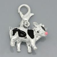 Wholesale Clip On Charms Milk Cow Silver Plated Enamel Black Fits Link Chain Bracelets x19mm B26938