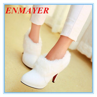 Wholesale ENMAYER big size White fur boots fashion single boots winter women s high heel wedding shoes ankle boots new arrival