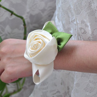 Wedding Bouquet Polyester 10 cm Rose flowers beige color handmade DIY bride bridesmaid wrist hand flower wedding decorations Party Supplies