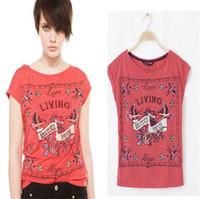 Women V-Neck Regular European style fashion women clothing short-sleeved pullover red bird print T-shirts freeshipping YG235