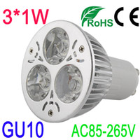 85-265V 3W Warm White 3W GU10 LED Silver Spot Light Bulb Solar Lamp High Power Warm White Color Sign SMD Strip Garden RGB Water Proof Indoor AC85-265V
