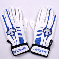 Wholesale New DESCENTE Men s High Quality Soft Lambskin Genuine Leather Anti Skid Golf Cycling Race Gloves White