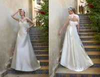 Wholesale Fancy Backless Sleeveless A line Satin Ivory Silver Wedding Dresses Free Sizes Bridal Gowns Dhgate Online Shopping