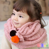 Wholesale New Winter Autumn Children Knitted Scarf Girls Warm Double Ball Ring Neck Warmer Neckerchief Baby Crochet Scarf Pattern pca A649