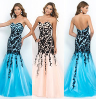 Wholesale 2014 Blush Designer Cheap Mermaid Prom Dresses Sexy Sweetheart Sleeveless Sweep Train Black Lace Applique Beads Tulle White Party Dresses