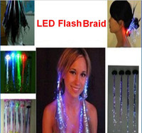 Wholesale 4 colors Led Flash Braid Hair Decoration Fiber Luminous Braid for Halloween Christmas Party flashing hair band Novelty Decoration for party