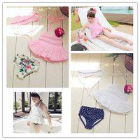 Wholesale Lace Girls Swimwear Korean Fashion Lace Set Children Swimming Summer Princess Kids bathing suit Girl Swimsuit Clothing A645