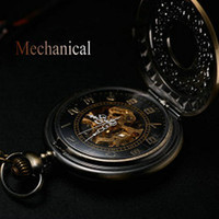 Wholesale Antique bronze automatic pendant watch necklace mens retro pocket watch keychain gold vintage mechanical military pocket watch