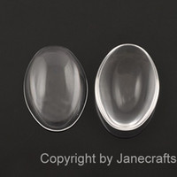 Wholesale 40mm mm Oval Shape Flat Back Clear Crystal Glass Cabochons Top Quality Cabochon Glass Title Sold as Per Package