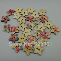 Cheap Newest Star Shape Wood Buttons Arrive! Mixed Multi Colors 300pcs Wholesale 25*25mm Colorful Wood Sewing Button Scrapbooking DIY