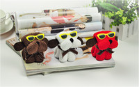 Wholesale Free ship cheapest cm Cute Dogs with glasses Cake Shape Pattern Towel Cotton Washcloth Wedding Favor Gift