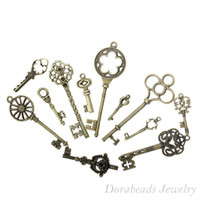 Fashion bronze charms - Mixed Antique Bronze Key Charms Pendants x13mm x20mm B13922