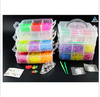 Jelly, Glow Bohemian Unisex 2014 Hot Crazy and fun Rubber Loom Band Bans Kit DIY Bracelet Silicone Loom Bands 3 layers PVC Box Family Looms Kit Box Refills