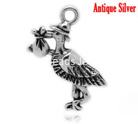 "Charms B17002 Slide Free Shipping! Antique Silver Stork Carrying Baby Charm Pendants 26x23mm(1""x7 8""), sold per packet of 30 (B17002)"