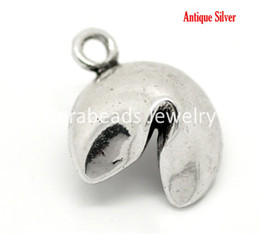Wholesale Antique Silver Lucky Fortune Cookie Charm Pendants x15mm sold per packet of B17396