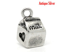 Charms antique milk boxes - Antique Silver Milk Box Heart Charm Pendants x11mm quot x3 quot sold per packet of B16403