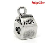 B16403 antique milk boxes - Antique Silver Milk Box Heart Charm Pendants x11mm quot x3 quot sold per packet of B16403
