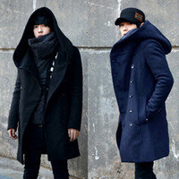Wholesale Winter Mens Long Woolen Trench Coat Male Hooded Jacket Coat Korean Style For Men Warm Dress Overcoat Plus Size