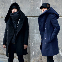 Wholesale 2014 Winter Mens Long Woolen Trench Coat Male Hooded Jacket Coat Korean Style For Men Warm Dress Overcoat Plus Size