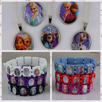 Wholesale FROZEN Jewelry Sets Stainless Steel Pendant Necklaces Wood Bracelets Fashion Girls Children Party Gift