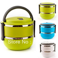 Metal ECO Friendly Dinnerware Sets Double Layer Stainless Steel Children Lunch Box 1.4L Keep Warm Food Container For Kids